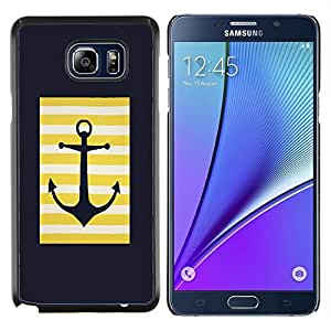 Stuss Case / Funda Carcasa protectora - Marinero del ancla Minimalista Negro - Samsung Galaxy Note 5