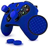 ParticleGrip Studded Skin Set for Xbox One (& One S) by Foamy Lizard – Patent Pending Silicone Skin Cover Antislip Studs Plus Matching Set of 4 AceShot Analog Thumbgrips (Blue)