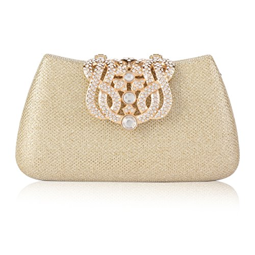 Damara Womens Gauze Paillette Crown Clutch Shoulder Wedding Bags,Gold