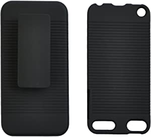 Seadream Black Rubberized Hard CASE + Belt Clip Holster Kickstand Combo for iPod Touch 5 5th 6 6th Generation