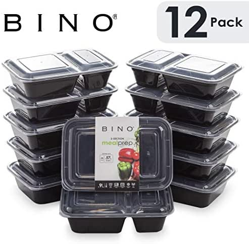 BINO Meal Prep Containers with Lids - 2 Compartment /30 oz [12-Pack] - Bento Box Lunch Containers for Adults Food Containers Meal Prep Food Prep Containers Tupperware Set
