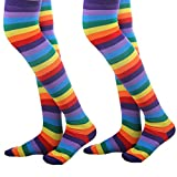 Womens Over The Knee Socks Colorful Striped Fashion Long Thigh High Stockings (2 pair rainbow)