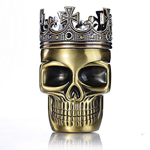 LIHAO Herb Grinder King Skull Alter gekrönter König Schädel Pollen Crusher für Spice,Kaffee,Herb,Kraeuter,Gewürze(Bronze)