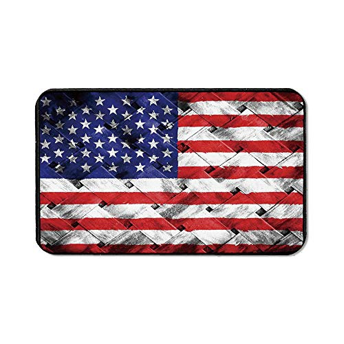 (Rustic American USA Flag Custom Mouse Pad,Fourth of July Independence Day Thatch Rattan Rippled Weave Bamboo Art Decorative for Electronic Games Office,15.75''Wx23.62''Lx0.12''H)