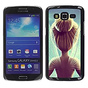 Be Good Phone Accessory // Dura Cáscara cubierta Protectora Caso Carcasa Funda de Protección para Samsung Galaxy Grand 2 SM-G7102 SM-G7105 // Wings Blonde Magic Blue Hope