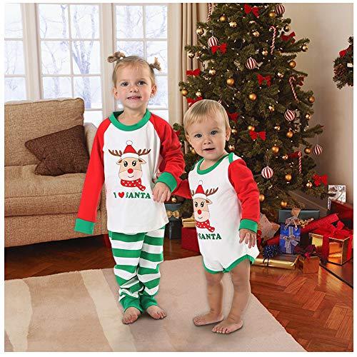 BOBORA I Santa Family Pajamas, Christmas Matching Jammies Cute Reindeer Sleepwear Set (S/3T, Toddlers')