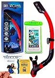 ZannoPro Dry Snorkel Tube by Safe & Durable Snorkeling Gear Upgraded Splash Guard,Purge Valve & Flexible Tube,Easy Breathing+BONUS Waterproof Phone Case & Deluxe Gift Box