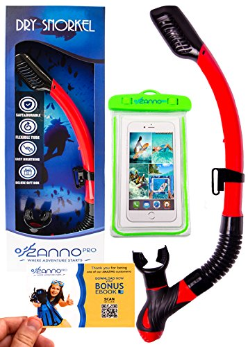 ZannoPro Dry Snorkel Tube by Safe & Durable Snorkeling Gear Upgraded Splash Guard,Purge Valve & Flexible Tube,Easy Breathing+BONUS Waterproof Phone Case & Deluxe Gift Box