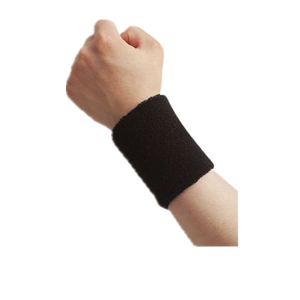 Wrist Sweatbands, Cotton Wristband for Sports, Left & Right Sleeves, Sports Basketball Football Absorbent Wristband Party Outdoor 3.5inch Long (Black Pack of 2)