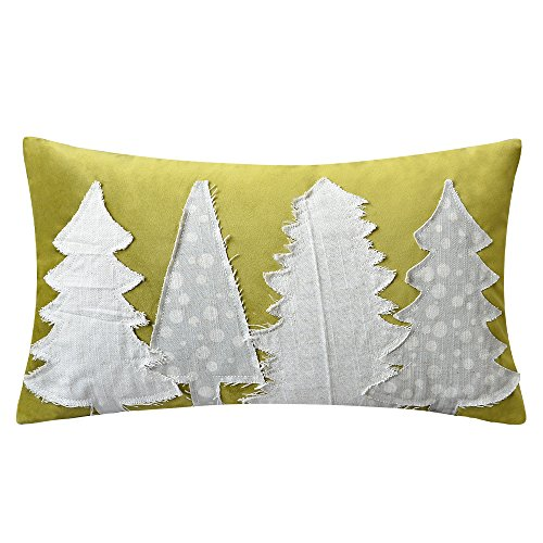KXB Handmade Throw Pillow Covers Christmas Trees Decorative Cushion Covers Applique Pillowslips Rectangular Pillowcases Home Bed Sofa Room Decor 12 x 20 Olive Green