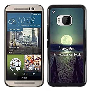 Impact Case Cover with Art Pattern Designs FOR HTC One M9 I Love You Moon Text Sunset Beach Ocean Betty shop