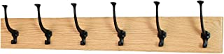 product image for PegandRail Solid Oak Wall Mounted Coat Rack - Large Black Mission Hooks - Made in The USA (Natural, 30.5 x 4.5 X-Wide - 6 Hooks)