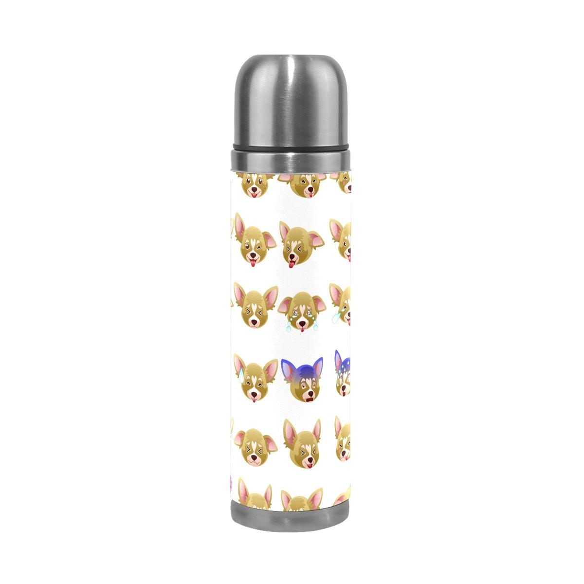 jstel Chihuahua perro Emoji aislado al vacío vacío vacío botella de agua de acero inoxidable a prueba de fugas botella de doble vacío para café caliente o frío taza de té + bebida Top 500 ml 3187c8