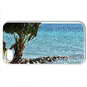 Tropical Pleasure - Case Cover for iPhone 4 and 4s (Beaches Series, Watercolor style, White)
