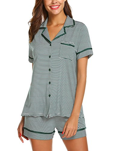 Ekouaer Women's Sleepwear Stretchy Jersey Short Sleeve Button up Top and Shorts Pajama Set (Green Black Striped XL)