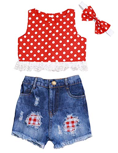 - Toddler Baby Girl 6 12 18 24 Months Valentine's Day Polka Dot Lace Tank Top + Denim Shorts Outfit with Bowknot Headband 12-18 Months