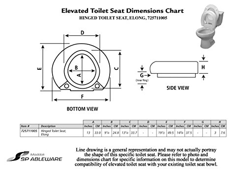 Ableware Hinged Elevated Toilet Seat, Elongated by Maddak Inc. (Image #3)