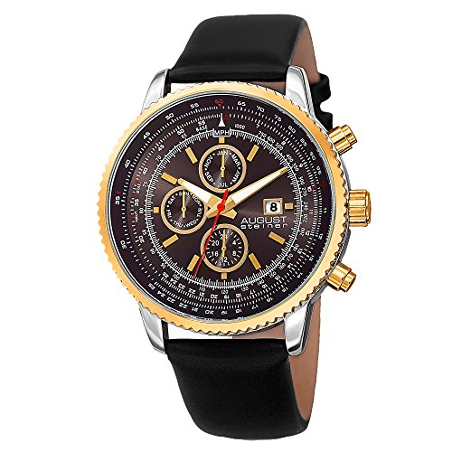 August Steiner Men's AS8189YGB Gold Multifunction Quartz Watch with Black Dial and Black Leather Bracelet