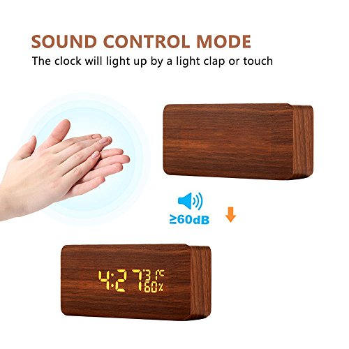 Wellish Wooden LED Digital Desk Tabletop Bedside Alarm Clock with Temperature and Humidity 3 Brightness Adjustable and Sound Control