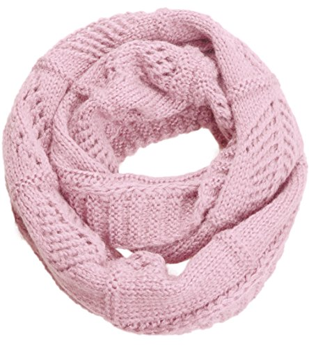 NEOSAN Women's Men Thick Winter Knitted Infinity Circle Loop Scarf Crochet Light Pink (Pink Knitted Scarf)