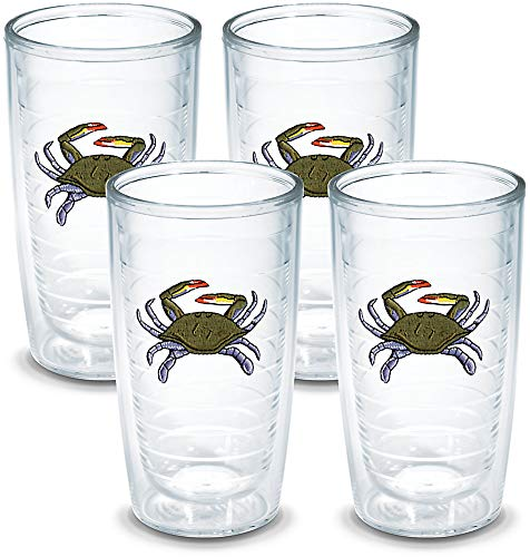 (Tervis Tumbler Blue Crab 16-Ounce Double Wall Insulated Tumbler, Set of 4)