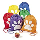 Paw Print Drawstring Backpacks - 12 ct