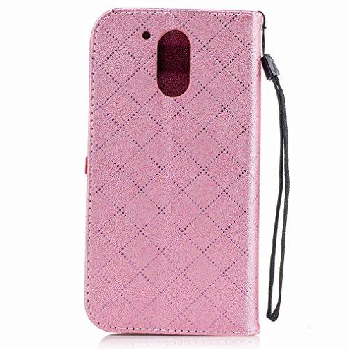 Yiizy Motorola Moto G4 Plus Custodia Cover, Amare Design Sottile Flip Portafoglio PU Pelle Cuoio Copertura Shell Case Slot Schede Cavalletto Stile Libro Bumper Protettivo Borsa (Rosa)