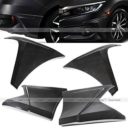 - Remix Custom For 2016-2018 Honda Civic 4 Door Sedan FC1 Front and Rear Side Body Molding Spoiler Aero Kit Painted Black