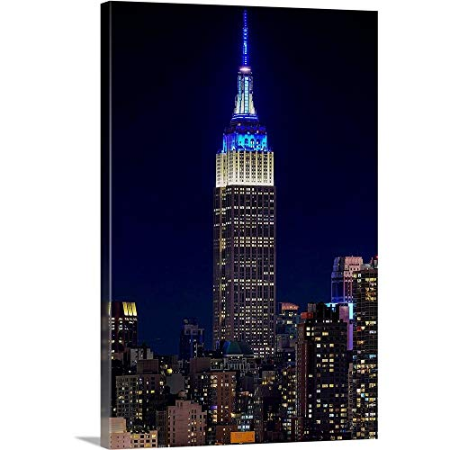 Empire State Building at Night Canvas Wall Art Print, 24'x36'x1.25'