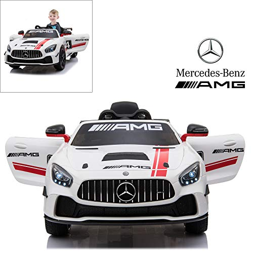 Mercedes Benz AMG GT4 Electric Ride On Car with Remote Control for Kids, 12V Power Battery Official Licensed Kids Car with 2.4G Radio Parental Control Opening Doors, White