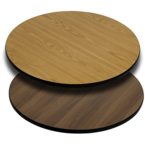 Flash Furniture 36'' Round Table Top with Natural or Walnut Reversible Laminate Top (Top Pine Round Table)