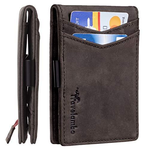 Accessories Money Clip Wallet - Travelambo Mens RFID Blocking Front Pocket Minimalist Slim Genuine Leather Wallet Pull Tab Money Clip (Crazy Horse Grey)