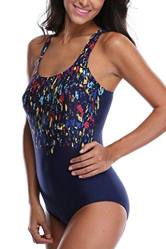Alove de impresión traje de baño de una pieza de las mujeres espalda cruzada Bañador Sports Bañador para niña azul marino