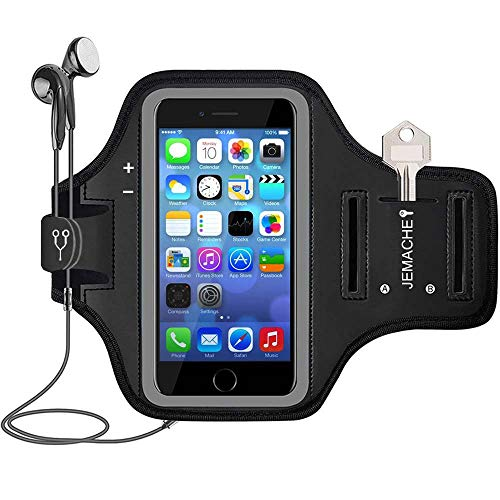 iPhone SE/5S/5 Armband, JEMACHE Gym Running/Jogging Exercise/Workout Sport Arm Band Case for iPhone SE/5S/5/5C, iPod Touch 5th / 6th Generation with Card/Key Holder (Black) (Renewed) ()