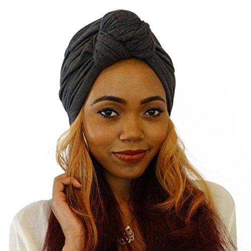 Fashion Scarf Tied (Fashion Women Warm Knit Crochet Ski Hat Boho Braided Turban Headdress Cap (Black))