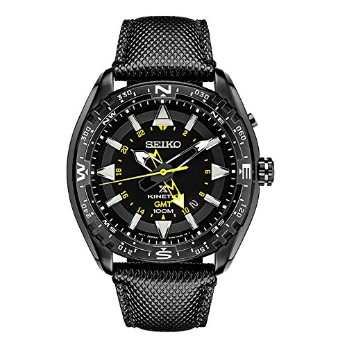 Seiko Black Dial Stainless Steel Leather Quartz Men's Watch (Mens Black Dial Kinetic Watch)