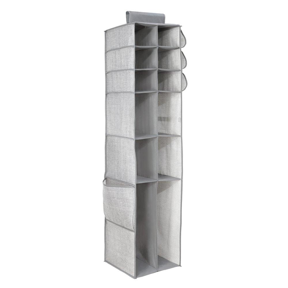 InterDesign 10-Shelf Chevron Soft Storage Shoe Organizer, Taupe/Natural 04481