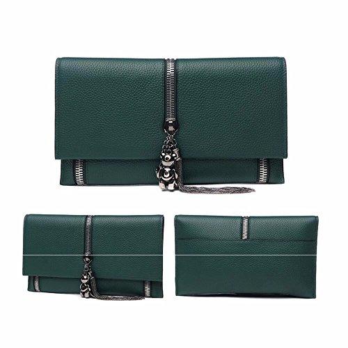 neue leder - clutch mit großer kapazität),schwarz grüne