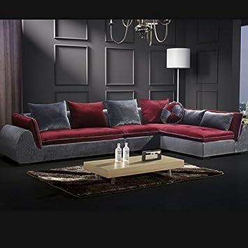 Sofa Wohnzimmer Mbel 360 Cm Schwarz Grau Modernes Design Sieben Kissen Abnehmbar