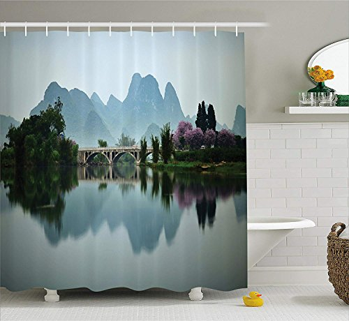 TYANG Farm House Decor Shower Curtain,Japanese National Park Bridge Reflections of The Mount on The Lake Scenery,Fabric Bathroom Decor Set with Hooks,Multi 4872 inches ()