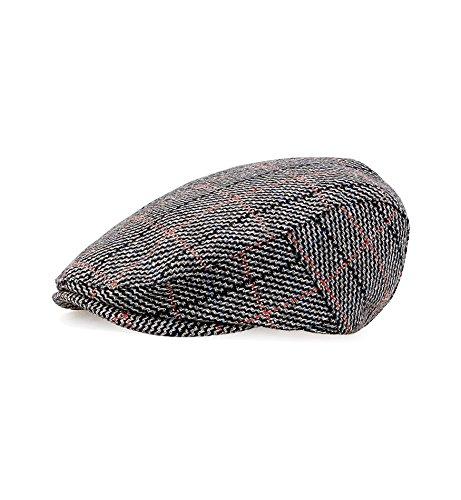 (Sumolux Men's Plaid Tweed Cap Wool Blend Twill newsboy Flat IVY Collection Cabbie Driving Hat Black Grey)