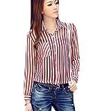 Zeagoo Women's Stripes Long Sleeve Turn-down Collar Blouse