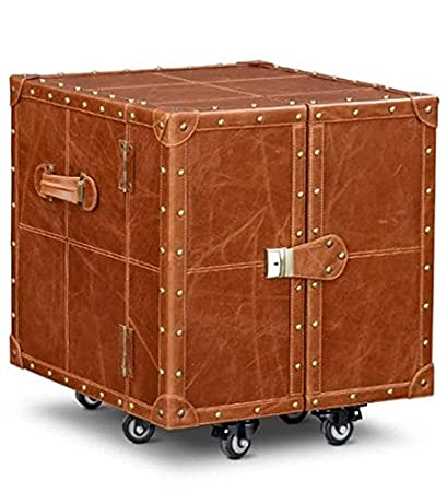 Generic Trunk Bar Cabinet In Tan Brown Leather By Artikle Leather:  Amazon.in: Home U0026 Kitchen