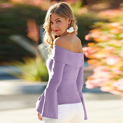 Femme Chemise Shirt Hauts Nu Longues Epaule T Manches Casual Style Par T shirt Chic Homebaby Beatou Tops Tee Violet Col ddOfxqrw