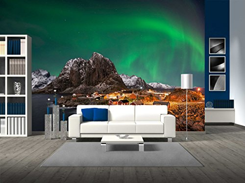 Aurora Island Light (wall26 - Beautiful Aurora over Hamnoy, in the Lofoten Islands, Norway - Removable Wall Mural | Self-adhesive Large Wallpaper - 100x144 inches)