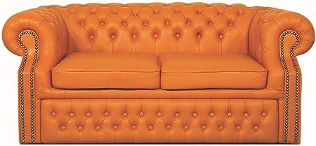 Casa Padrino Genuine Leather 2 Seater Sofa Orange 180 x 100