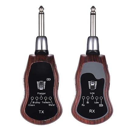 Muslady Guitarra Transmisor + Receptor Sistema Inalambrico Portátil UHF 10 Canales 5 Efectos Incorporados (Limpio