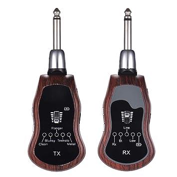 Muslady Guitarra Transmisor + Receptor Sistema Inalambrico Portátil UHF 10 Canales 5 Efectos Incorporados (Limpio/Bluesy / Flanger/Tremolo / Metal) para ...