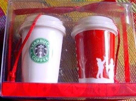 Mini 2006 Ornaments - Starbucks Christmas Ornaments - Ceramic Mini Red and White Cups - Set of Two - 2006