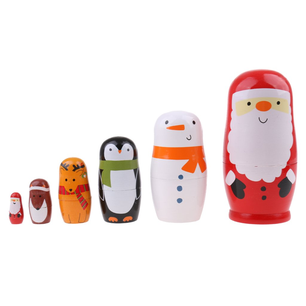 6pcs Handmade Animal Nesting Dolls Collectable Russian Wooden Matryoshka Doll Cute Cartoon Pattern Kids Toy Xmas Gift